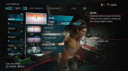 Skills screenshot of Devil May Cry 5 video game interface.