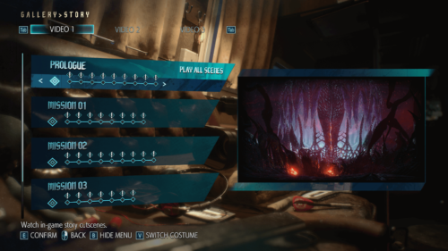 Story screenshot of Devil May Cry 5 video game interface.