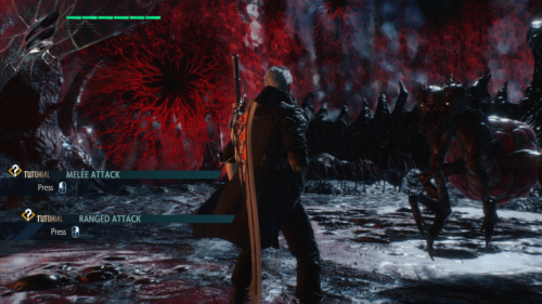 Tutorial screenshot of Devil May Cry 5 video game interface.