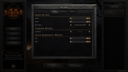 Audio screenshot of Diablo II: Resurrected – Technical Alpha video game interface.