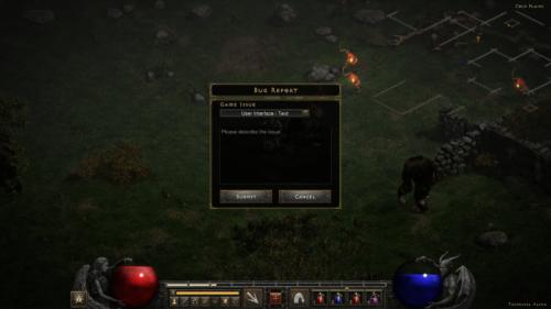 Bug Report screenshot of Diablo II: Resurrected – Technical Alpha video game interface.