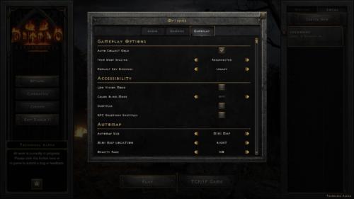 Gameplay screenshot of Diablo II: Resurrected – Technical Alpha video game interface.
