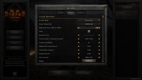 Graphics screenshot of Diablo II: Resurrected – Technical Alpha video game interface.