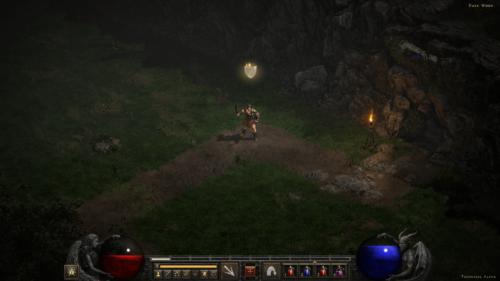In game screenshot of Diablo II: Resurrected – Technical Alpha video game interface.