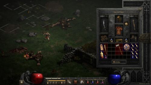 Inventory screenshot of Diablo II: Resurrected – Technical Alpha video game interface.