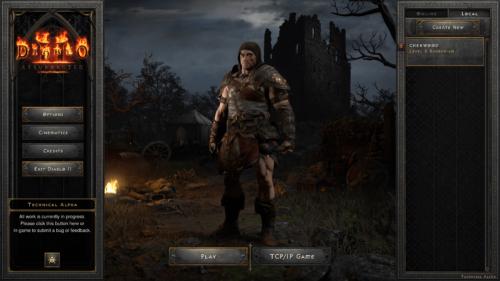 Main menu screenshot of Diablo II: Resurrected – Technical Alpha video game interface.