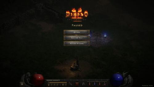 Paused screenshot of Diablo II: Resurrected – Technical Alpha video game interface.