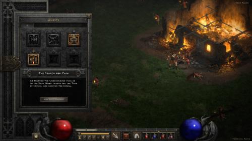 Quests screenshot of Diablo II: Resurrected – Technical Alpha video game interface.