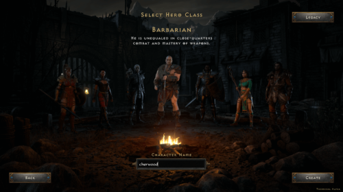 Select Hero Class screenshot of Diablo II: Resurrected – Technical Alpha video game interface.