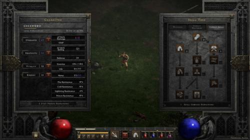 Skill tree screenshot of Diablo II: Resurrected – Technical Alpha video game interface.