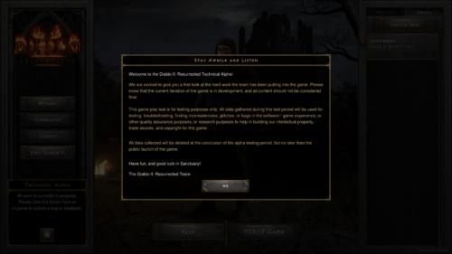 Welcome screenshot of Diablo II: Resurrected – Technical Alpha video game interface.