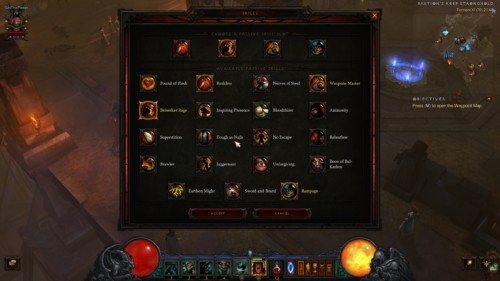 Available skills screenshot of Diablo III video game interface.