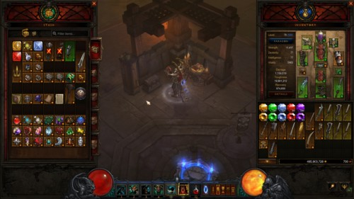 Bank screenshot of Diablo III video game interface.