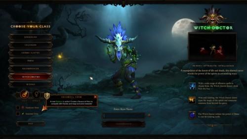 Choose your class screenshot of Diablo III video game interface.