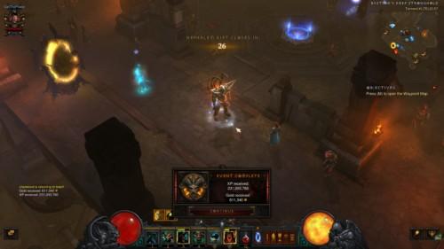 Event complete screenshot of Diablo III video game interface.