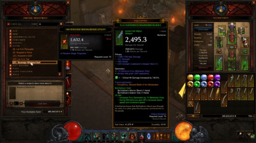Forge weapons screenshot of Diablo III video game interface.