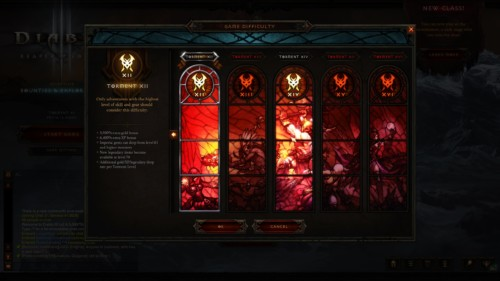 Game difficulty screenshot of Diablo III video game interface.