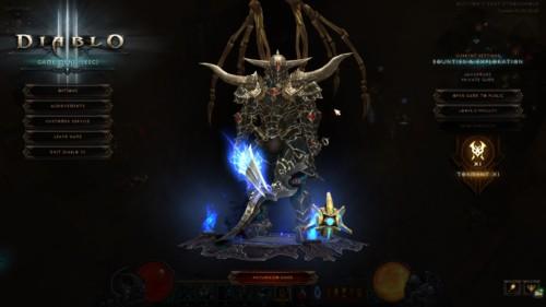 Game menu screenshot of Diablo III video game interface.