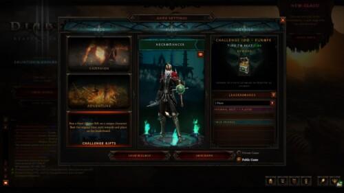 Game mode screenshot of Diablo III video game interface.