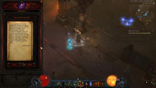 Journal screenshot of Diablo III video game interface.