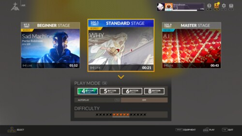 Air: Stage Select screenshot of DJMAX RESPECT V video game interface.