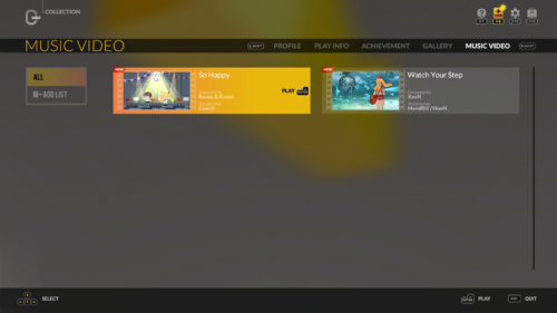 Collection: Music Videos screenshot of DJMAX RESPECT V video game interface.