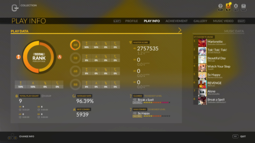 Collection: Play Info screenshot of DJMAX RESPECT V video game interface.