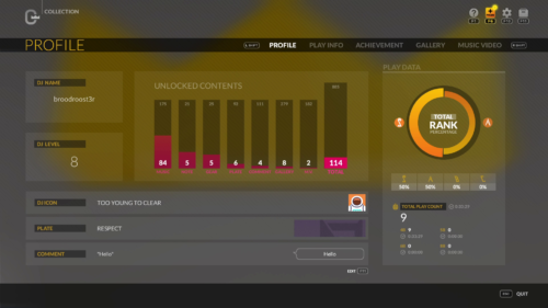 Collection: Profile screenshot of DJMAX RESPECT V video game interface.