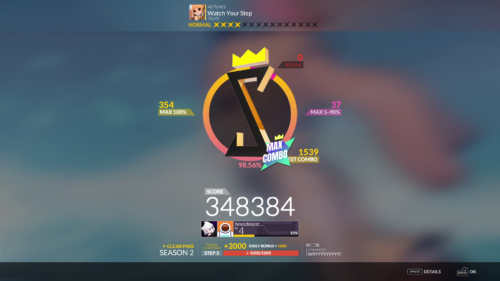 FreeStyle: Results screenshot of DJMAX RESPECT V video game interface.