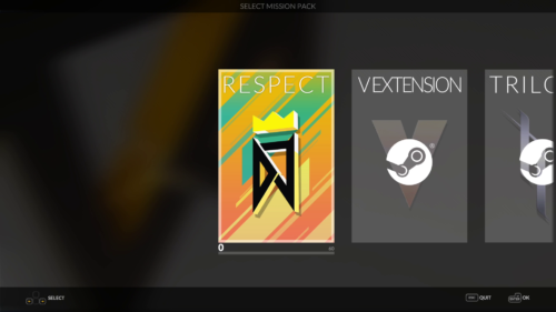 Mission: Pack Select screenshot of DJMAX RESPECT V video game interface.