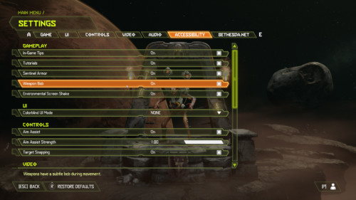 Accessibility screenshot of Doom Eternal video game interface.