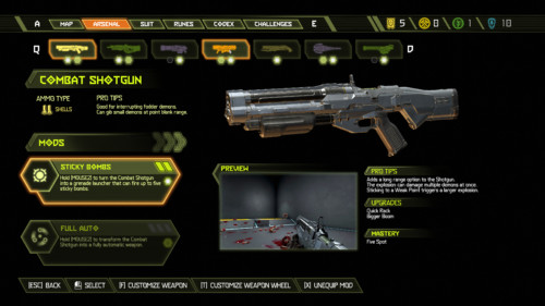 Arsenal screenshot of Doom Eternal video game interface.