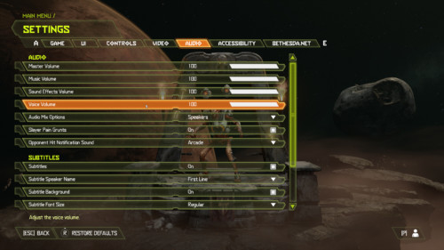Audio screenshot of Doom Eternal video game interface.