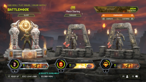 Battlemode screenshot of Doom Eternal video game interface.