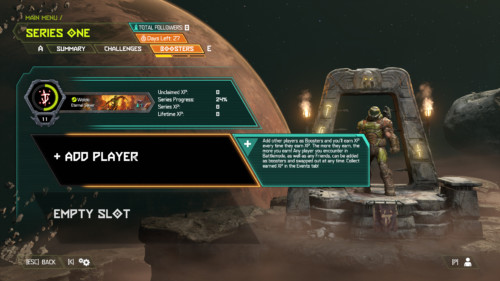 Boosters screenshot of Doom Eternal video game interface.