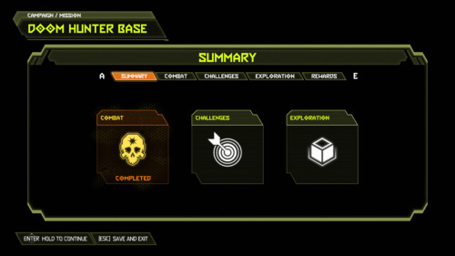 Campaign summary screenshot of Doom Eternal video game interface.