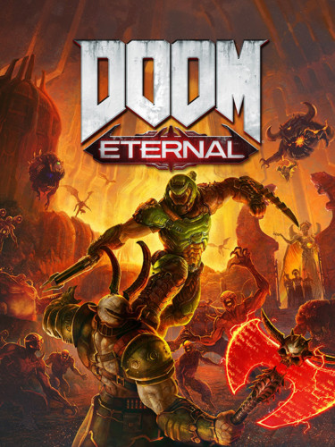 Cover media of Doom Eternal video game.