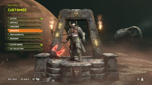 Customize screenshot of Doom Eternal video game interface.