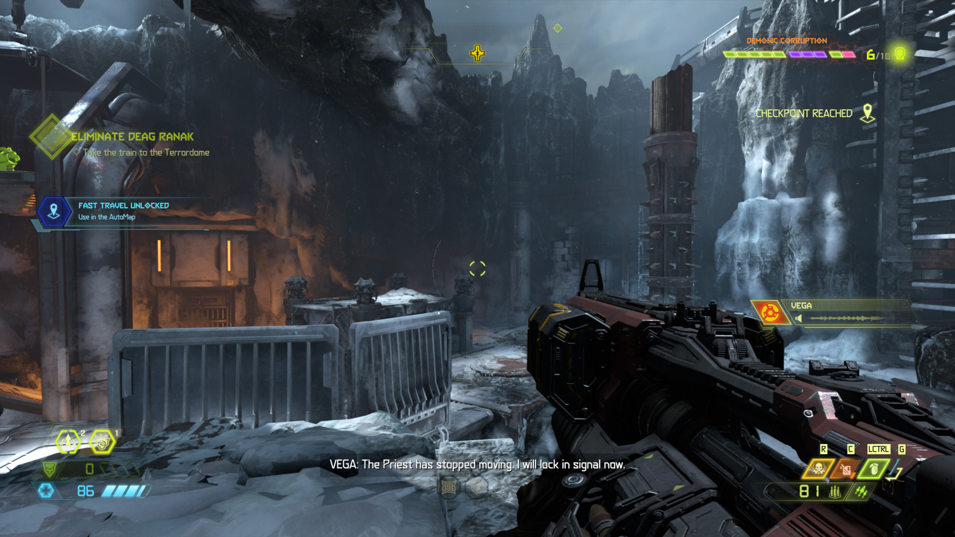 Dialogue screenshot of Doom Eternal video game interface.