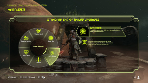 End of round upgrades screenshot of Doom Eternal video game interface.