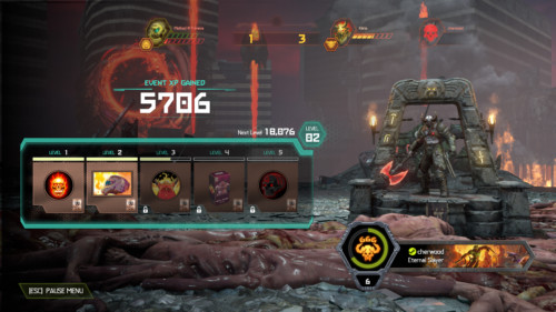 Event xp gained screenshot of Doom Eternal video game interface.