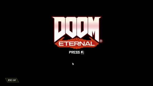 Press start screenshot of Doom Eternal video game interface.