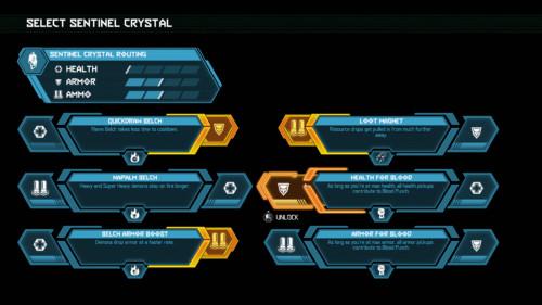 Select sentinel crystal screenshot of Doom Eternal video game interface.