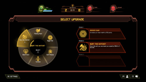 Select upgrade screenshot of Doom Eternal video game interface.