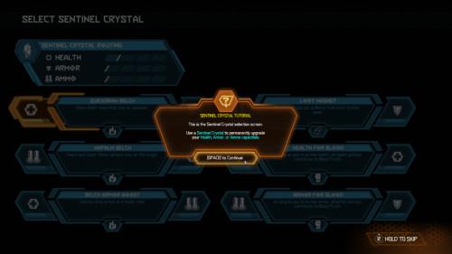 Sentinel crystal tutorial screenshot of Doom Eternal video game interface.