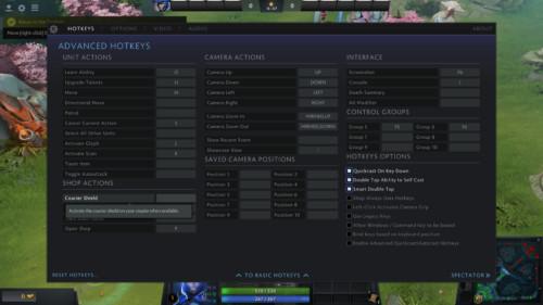 Advanced hotkeys screenshot of Dota 2 video game interface.