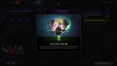 Escalating icon screenshot of Dota 2 video game interface.