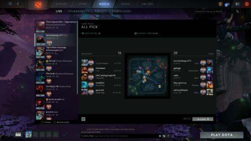 Watch live screenshot of Dota 2 video game interface.