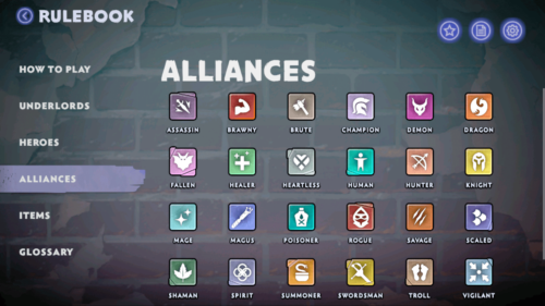 Alliances screenshot of Dota Underlords Mobile video game interface.