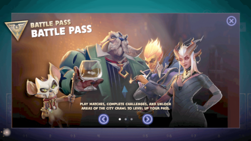 Battle Pass introduction screenshot of Dota Underlords Mobile video game interface.